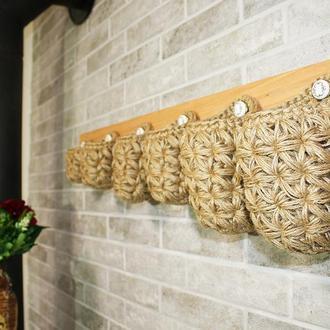 Вешалка органайзер настенная с удлиненными эко корзинками из джута