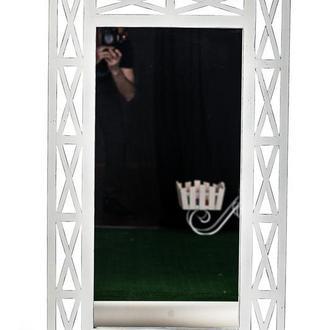 """Дзеркало настінне """"Версаль"""" 110х67см Біла патина"""