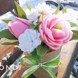 """Букет """"Весна"""", мыльные цветы и сакура - фоамиран, полностью"""