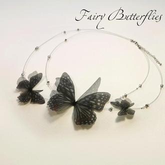"Колье с бабочками из шелка ""Ночная королева"" Fairy Butterflies"