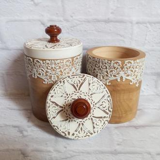Банки для сыпучих Деревянные емкости для хранения чая
