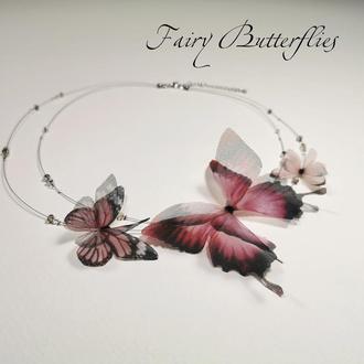 "Колье с бабочками из шелка ""Девичьи мечты"" Fairy Butterflies"