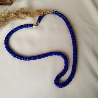 Синий жгут на шею - чокер Синий браслет из бисера Подарок девушке