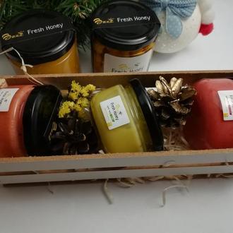 Подарочный набор медовый бокс №2 из 3 баночек меда по 100мл подарок на День Рождения