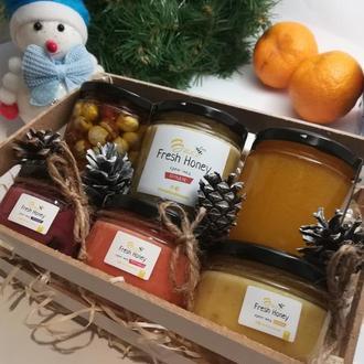 Подарочный вкусный бокс мед на подарок №4 из 6 баночек меда