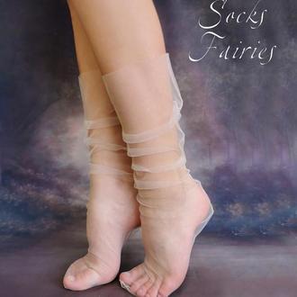Носки прозрачные из фатина Ангельское крыл/носки сетка/фатиновые носки/носки в горошек/Socks Fairies