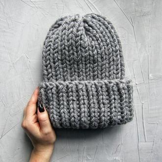 Серая женская шапка вязаний комплект шапка снуд