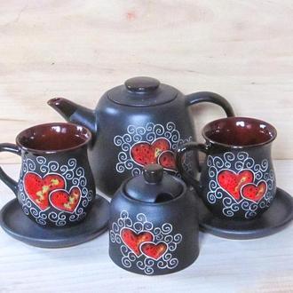 """Чайний набір, декор """"Серце"""" чорний"""