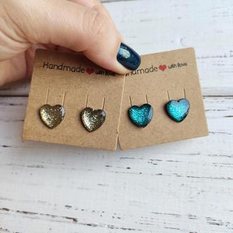 Серьги-сердечки золотистые, голубые