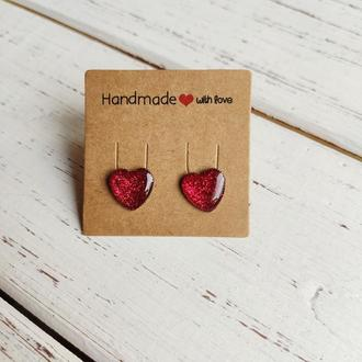 Серьги-сердечки красные