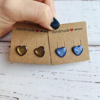 Серьги-сердечки золотистые и синие