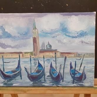 """Купити картину маслом, краєвид """"Венеція"""" полотно, олія, розмір 35х25 см"""