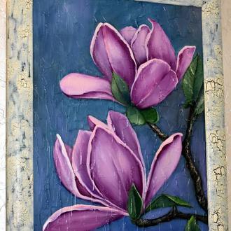 Живопись в раме,Магнолии цветут,структурная основа, размер 35х45см