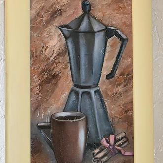 Кофе с корицей, фактурная живопись в раме