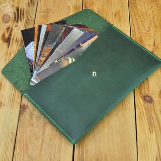 Кожаный чехол (конверт) для хранения фото, денег или документов