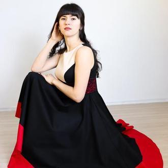 """платье черное с красным """"кармен"""""""