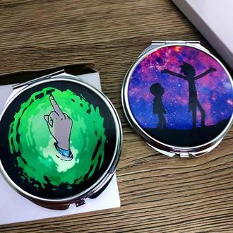 Карманное зеркало Рик и Морти Зеленый Фак