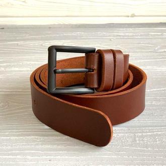 Темно-коричневый кожаный мужской ремень (ширина 4 см)