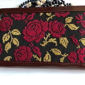 Женский кожаный кошелёк,бордовый кошелёк, кошелек с вышивкой