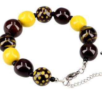 "Коричнево-желтый браслет из керамики ""Africa"""