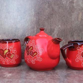 """Чайний набір Крапля, декор """"Серце"""" червоний"""
