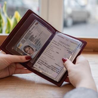 Универсальная кожаная обложка на права нового и старого образца_ подарок жене