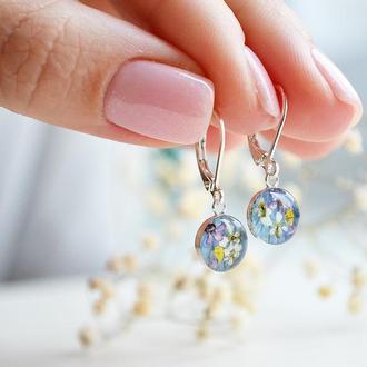 Серебряные серьги с цветами (сухоцветами)