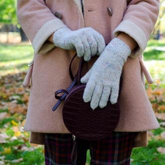 Осенние перчатки и берет из твида, Вязаные светло серые перчатки женские, Подарок девушке женщине