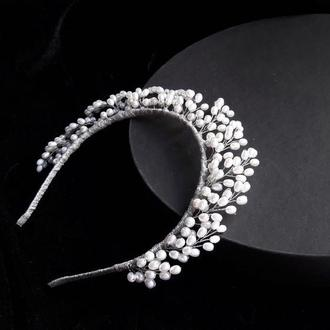 Свадебная тиара с искусственным жемчугом, Корона для невесты, Ободок с жемчугом
