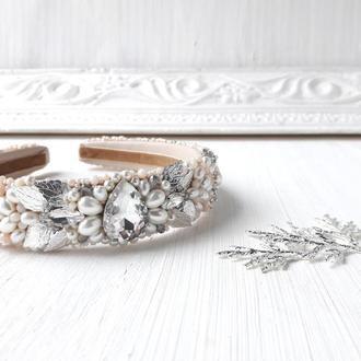 Свадебный бежевый обруч с искусственным жемчугом, Тиара для невесты, Ободок с жемчугом