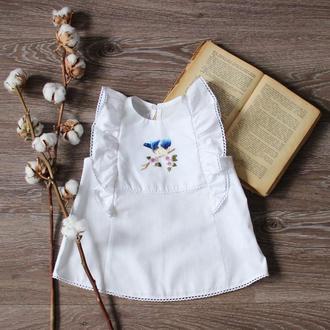 """Блуза с вышивкой """"Птичка синяя"""" хлопок, ТМ DORA"""