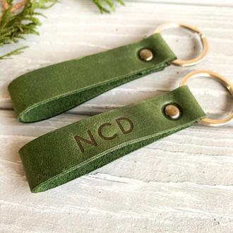 Зеленый брелок для ключей из натуральной кожи