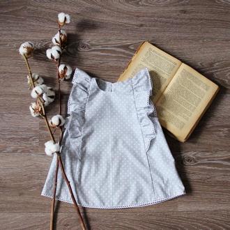 Блуза хлопковая серая в белый горошек ТМ DORA