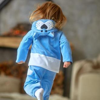 Спортивний костюм дитячий для дівчинки велюровий (світшот з капюшоном + штани) КІТТІ