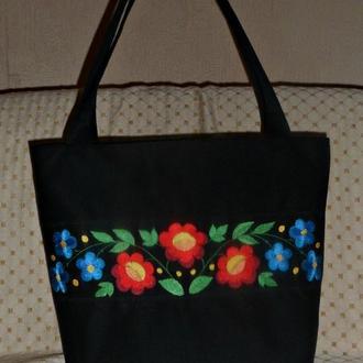 Сумка з вишивкою «Квітковий розпис»
