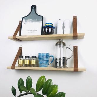 Полочки для кухни / комплект открытых полочек / навесные полки с кожаными ремнями