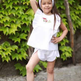 Блуза біла для дівчинки. Топ і шорти натуральна бавовна з вишивкою на літо