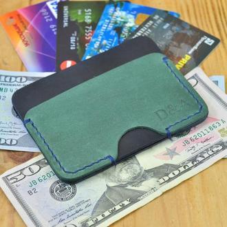 Кожаная визитница для кредитных карт и купюр