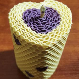 Белая свеча в форме сердца из вощины,Свічка в формі сердця для романтичного вечора Медова арома свеч