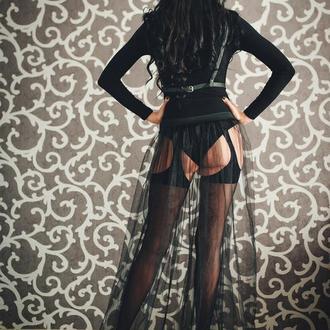 черная тюлевая юбка на эластичной пояске, фатиновая черная юбка хвост в пол