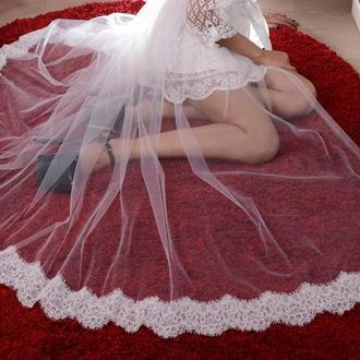 фатиновая юбка хвост с кружевами, белая свадебная юбка хвост, тюлевая кружевная юбка