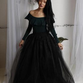черная пышная юбка пачка в пол, фатиновая юбка макси, длиная пышная юбка