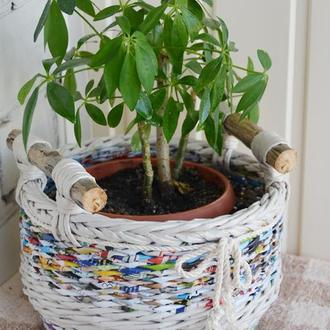 Кашпо-корзинка плетеная для цветочного горшка 25х16см.