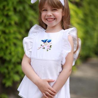 Комплект для девочки из 3х предметов: хлопковая блузка с вышивкой, шорты, повязка для волоc ТМ DORA