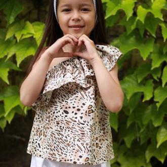"""Костюм для девочки из 3х предметов: блузка с принтом """"Леопард"""", шорты, повязка для волос"""