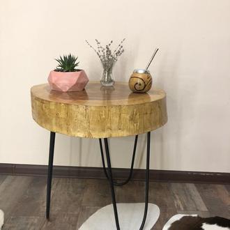 Кофейный стол со среза дерева