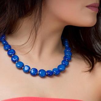"""Синее ожерелье из керамики """"Deep Ocean"""""""