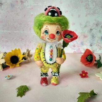 Елочная игрушка Клоун божья коровка.