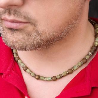 """Зеленое мужское ожерелье из керамики """"Predator"""""""