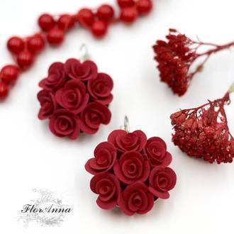 """Красные серьги цветы """"Красные розы"""""""